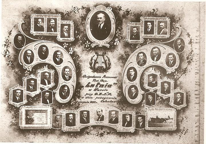 """Tablo pamiątkowe z 1937 roku; """"Czcigodnemu Prezesowi Towarzystwa Muzycznego """"Lutnia"""" w Warcie przy O.Z.N.P. w dniu pożegnania - Członkowie, sierpień 1937"""""""