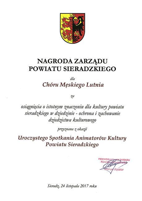 Nagroda Zarządu Powiatu Sieradzkiego dla Chóru Lutnia