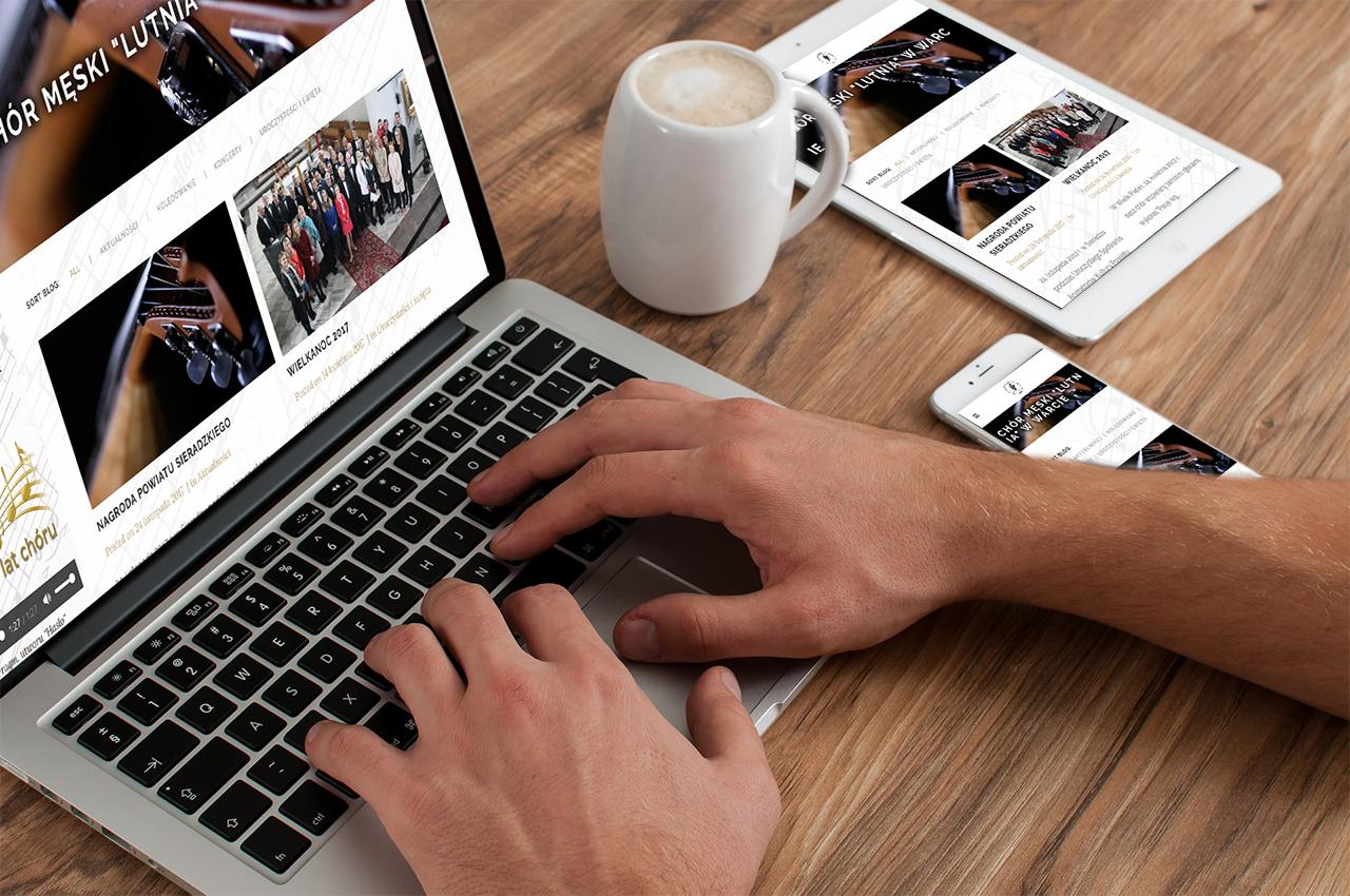 """Zawartość nowej strony Chóru """"Lutnia"""" dostosowano do wyświetlania na różnych urządzeniach (komputery, tablety, smartfony)"""
